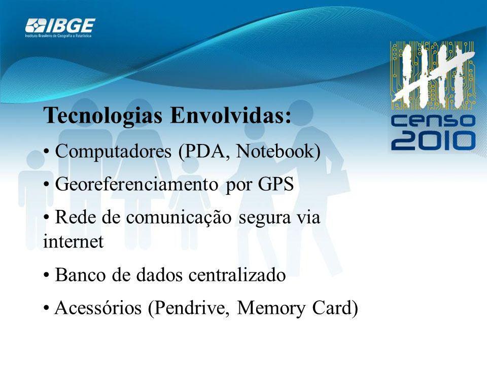 Tecnologias Envolvidas: Computadores (PDA, Notebook) Georeferenciamento por GPS Rede de comunicação segura via internet Banco de dados centralizado Acessórios (Pendrive, Memory Card)