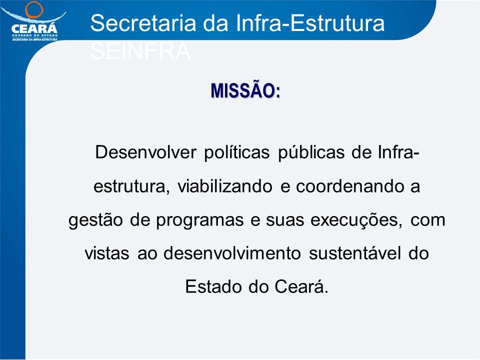 Secretaria da Infra-Estrutura SEINFRA MISSÃO: Desenvolver políticas públicas de Infra- estrutura, viabilizando e coordenando a gestão de programas e s