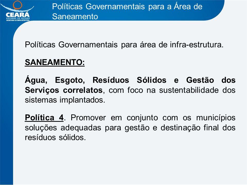 Políticas Governamentais para a Área de Saneamento Políticas Governamentais para área de infra-estrutura. SANEAMENTO: Água, Esgoto, Resíduos Sólidos e