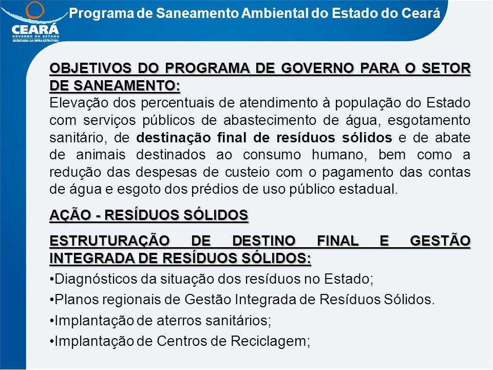 Programa de Saneamento Ambiental do Estado do Ceará OBJETIVOS DO PROGRAMA DE GOVERNO PARA O SETOR DE SANEAMENTO: Elevação dos percentuais de atendimen