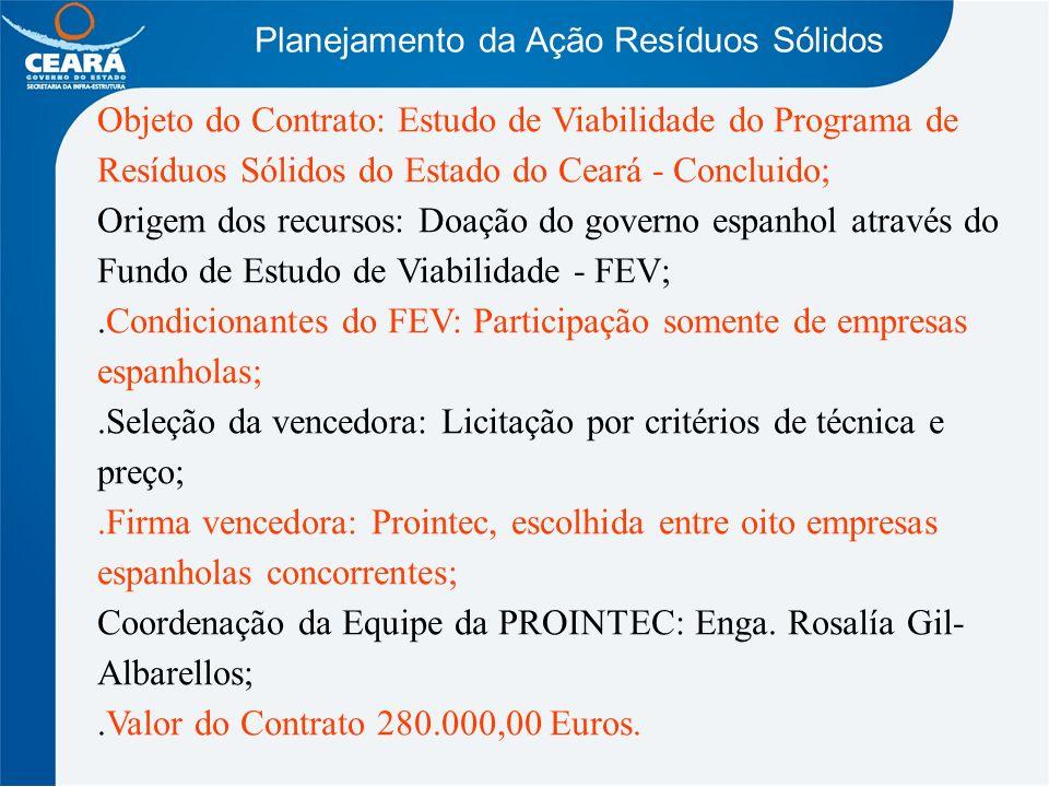 Planejamento da Ação Resíduos Sólidos Objeto do Contrato: Estudo de Viabilidade do Programa de Resíduos Sólidos do Estado do Ceará - Concluido; Origem