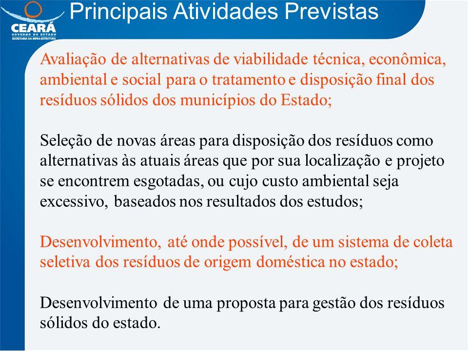Principais Atividades Previstas Avaliação de alternativas de viabilidade técnica, econômica, ambiental e social para o tratamento e disposição final d