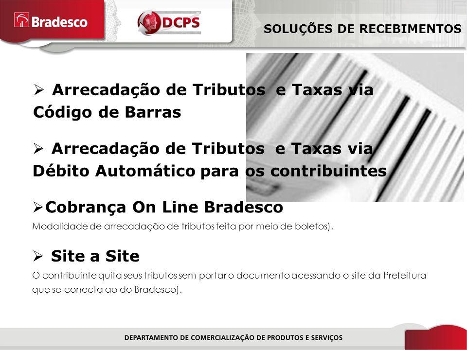 7/18 Cobrança On Line Bradesco Modalidade de arrecadação de tributos feita por meio de boletos).