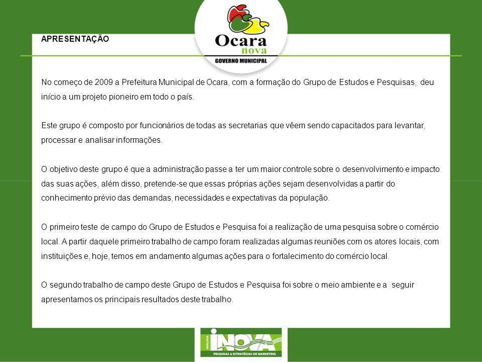 APRESENTAÇÃO No começo de 2009 a Prefeitura Municipal de Ocara, com a formação do Grupo de Estudos e Pesquisas, deu início a um projeto pioneiro em to