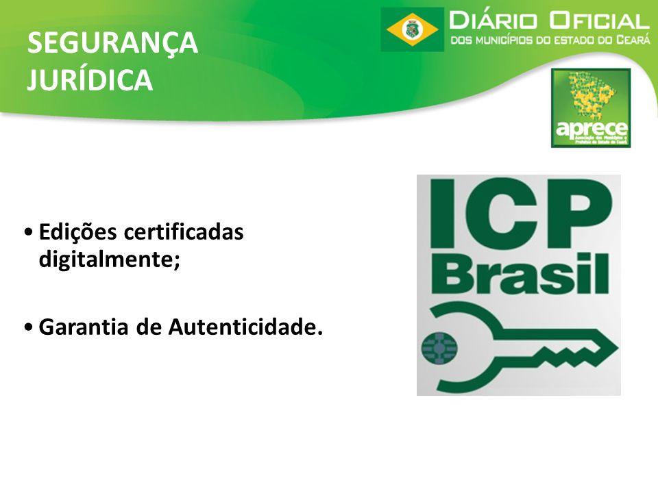 Edições certificadas digitalmente; Garantia de Autenticidade. SEGURANÇA JURÍDICA