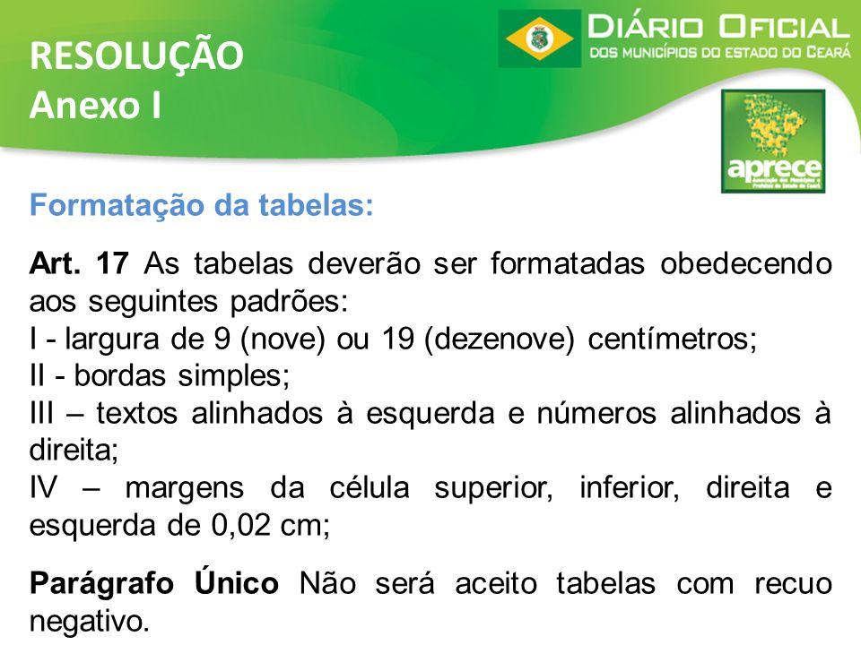 RESOLUÇÃO Anexo I Formatação da tabelas: Art. 17 As tabelas deverão ser formatadas obedecendo aos seguintes padrões: I - largura de 9 (nove) ou 19 (de