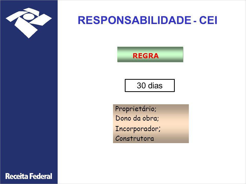 RESPONSABILIDADE - CEI REGRA Proprietário; Dono da obra; Incorporador ; Construtora 30 dias