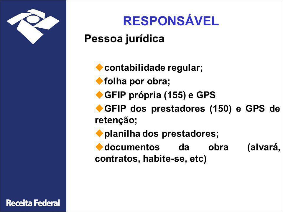 Pessoa jurídica contabilidade regular; folha por obra; GFIP própria (155) e GPS GFIP dos prestadores (150) e GPS de retenção; planilha dos prestadores