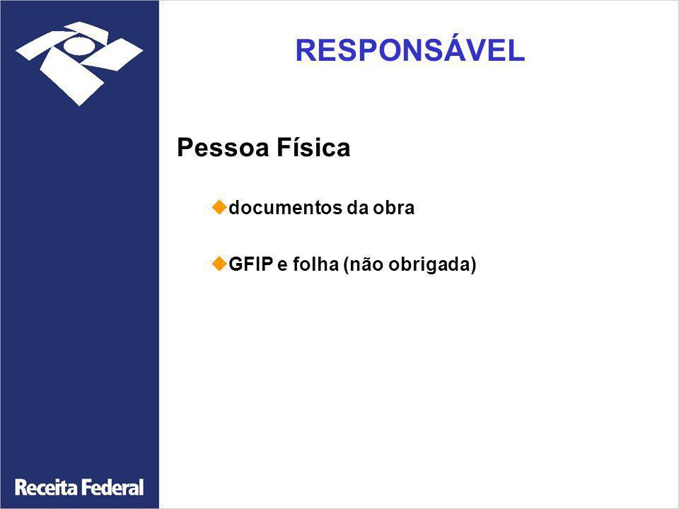 Pessoa Física documentos da obra GFIP e folha (não obrigada) RESPONSÁVEL