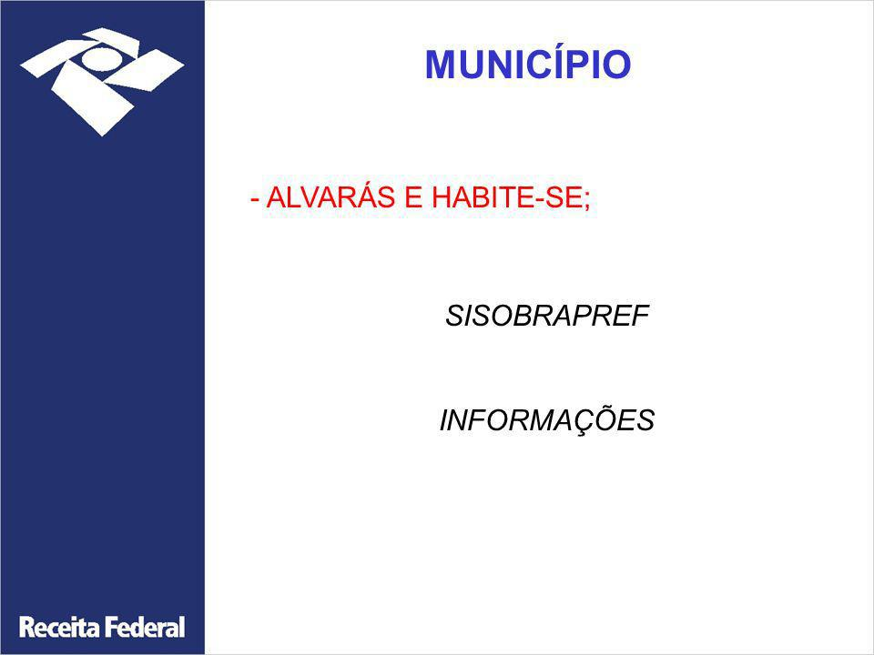 MUNICÍPIO - ALVARÁS E HABITE-SE; SISOBRAPREF INFORMAÇÕES