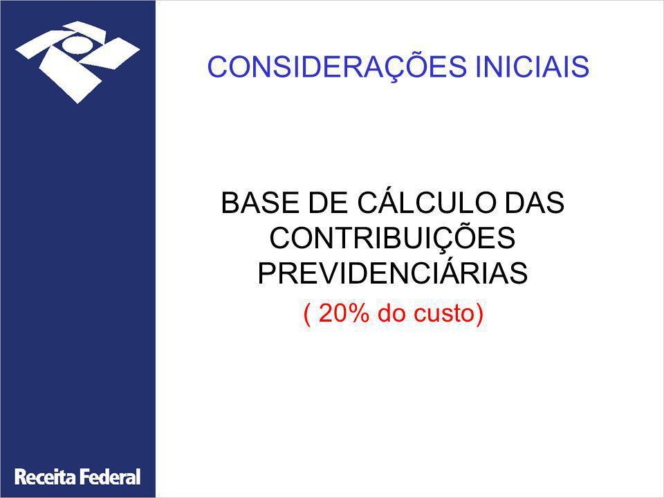CONSIDERAÇÕES INICIAIS BASE DE CÁLCULO DAS CONTRIBUIÇÕES PREVIDENCIÁRIAS ( 20% do custo)