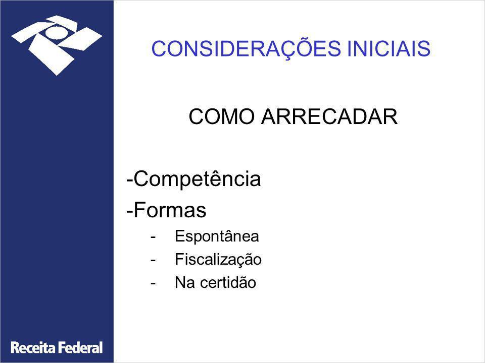 CONSIDERAÇÕES INICIAIS COMO ARRECADAR -Competência -Formas -Espontânea -Fiscalização -Na certidão
