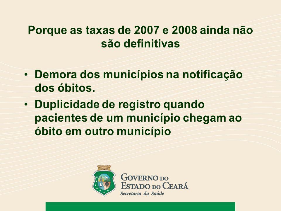 Porque as taxas de 2007 e 2008 ainda não são definitivas Demora dos municípios na notificação dos óbitos. Duplicidade de registro quando pacientes de