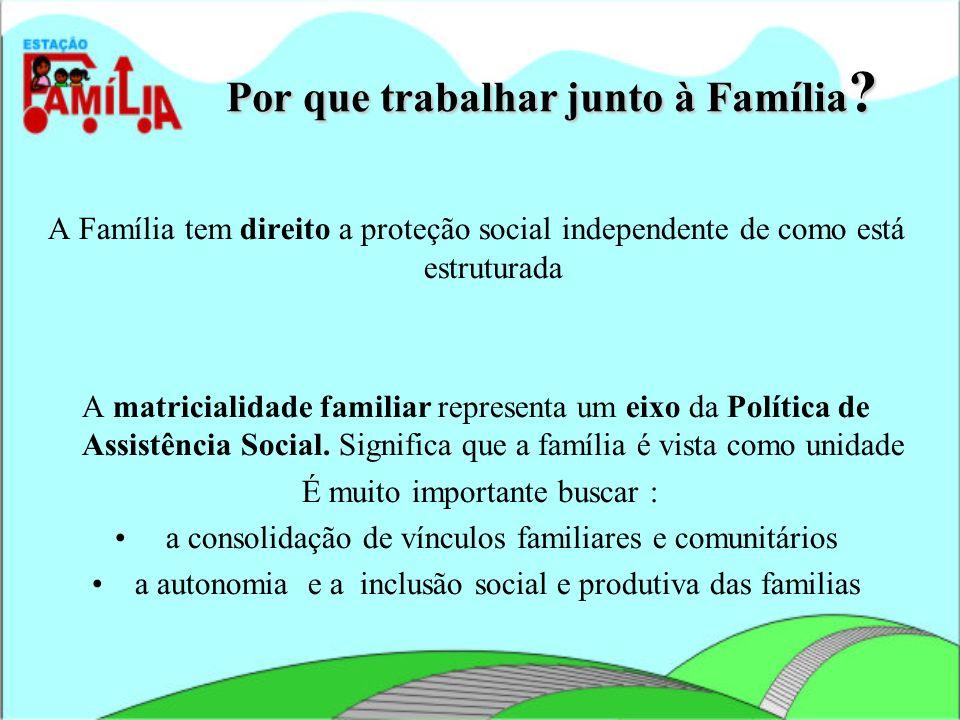 Por que trabalhar junto à Família ? A Família tem direito a proteção social independente de como está estruturada A matricialidade familiar representa