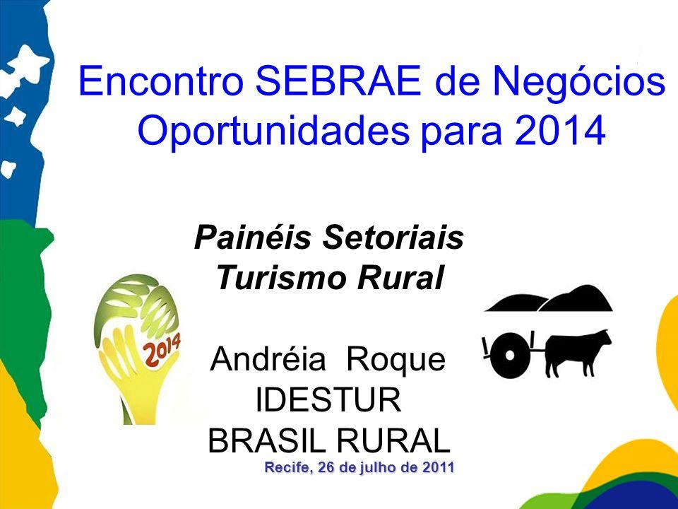 Recife, 26 de julho de 2011 Encontro SEBRAE de Negócios Oportunidades para 2014 Painéis Setoriais Turismo Rural Andréia Roque IDESTUR BRASIL RURAL