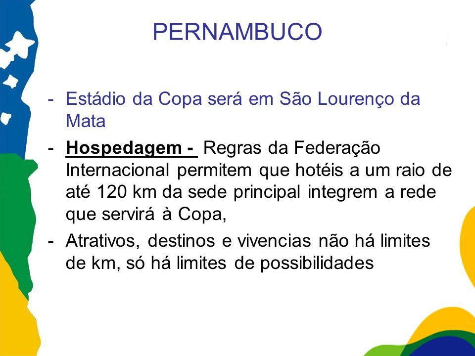 PERNAMBUCO -Estádio da Copa será em São Lourenço da Mata -Hospedagem - Regras da Federação Internacional permitem que hotéis a um raio de até 120 km d