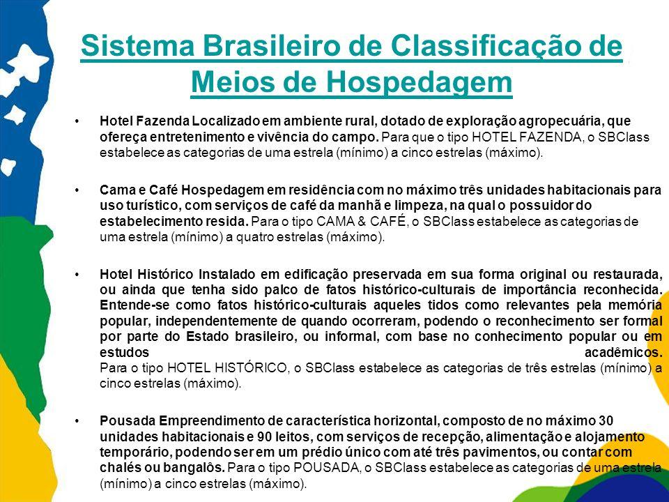 Sistema Brasileiro de Classificação de Meios de Hospedagem Hotel Fazenda Localizado em ambiente rural, dotado de exploração agropecuária, que ofereça