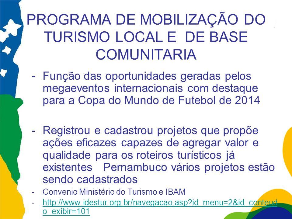 PROGRAMA DE MOBILIZAÇÃO DO TURISMO LOCAL E DE BASE COMUNITARIA -Função das oportunidades geradas pelos megaeventos internacionais com destaque para a