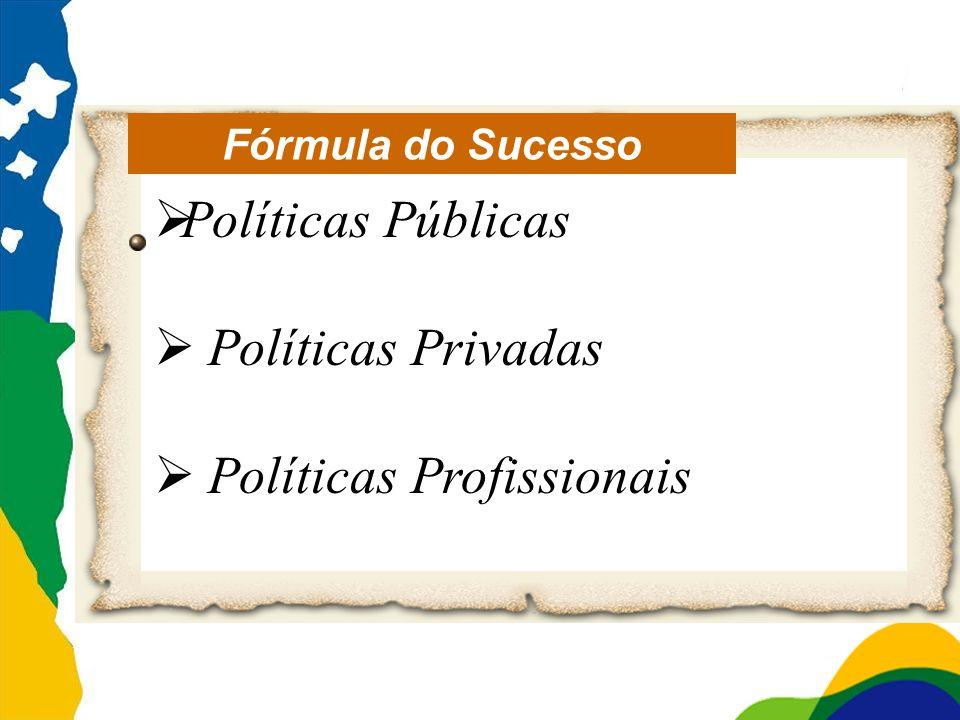 Fórmula do Sucesso Políticas Públicas Políticas Privadas Políticas Profissionais