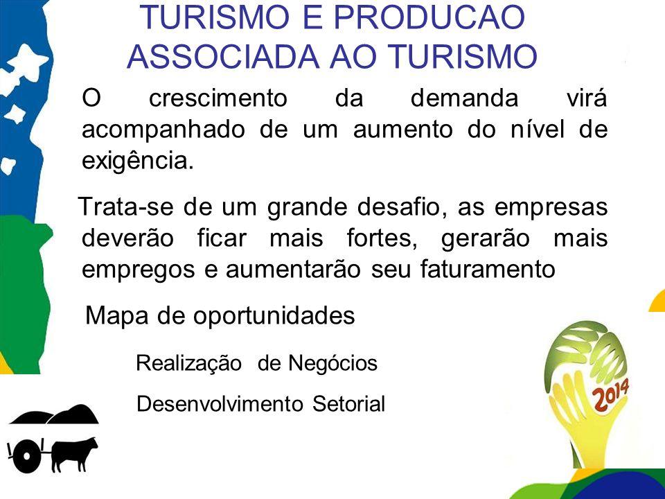 TURISMO E PRODUCAO ASSOCIADA AO TURISMO O crescimento da demanda virá acompanhado de um aumento do nível de exigência. Trata-se de um grande desafio,