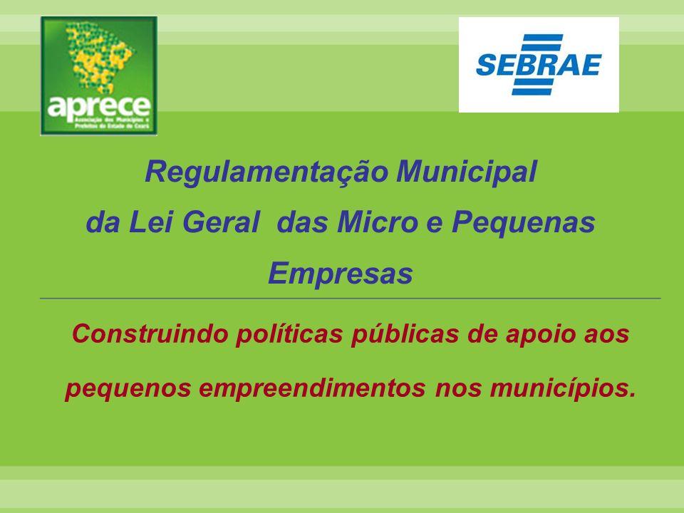 Regulamentação Municipal da Lei Geral das Micro e Pequenas Empresas Construindo políticas públicas de apoio aos pequenos empreendimentos nos município