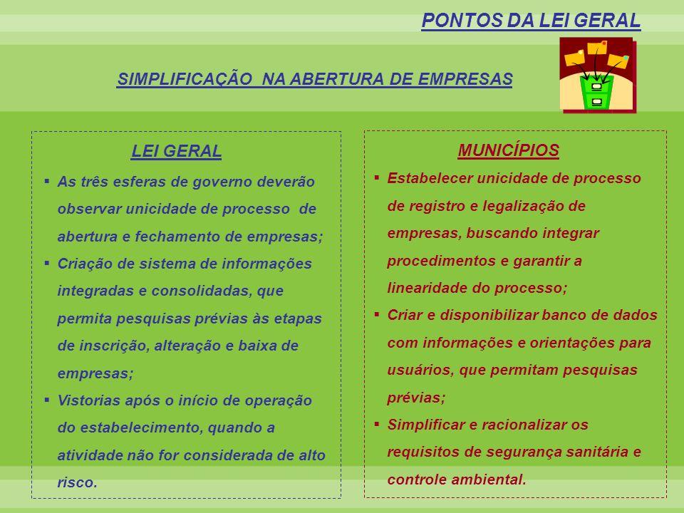 SIMPLIFICAÇÃO NA ABERTURA DE EMPRESAS PONTOS DA LEI GERAL Estabelecer unicidade de processo de registro e legalização de empresas, buscando integrar p
