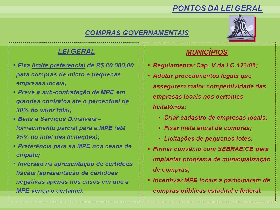 Fixa limite preferencial de R$ 80.000,00 para compras de micro e pequenas empresas locais; Prevê a sub-contratação de MPE em grandes contratos até o p