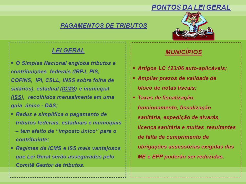 O Simples Nacional engloba tributos e contribuições federais (IRPJ, PIS, COFINS, IPI, CSLL, INSS sobre folha de salários), estadual (ICMS) e municipal