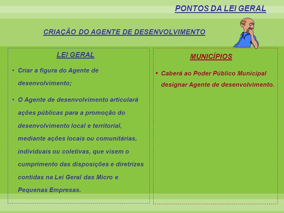 CRIAÇÃO DO AGENTE DE DESENVOLVIMENTO PONTOS DA LEI GERAL LEI GERAL Caberá ao Poder Público Municipal designar Agente de desenvolvimento. MUNICÍPIOS Cr