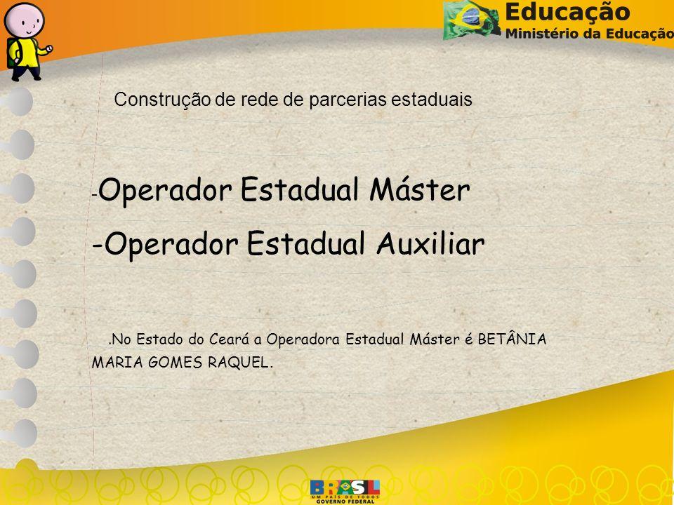 Construção de rede de parcerias estaduais - Operador Estadual Máster -Operador Estadual Auxiliar.No Estado do Ceará a Operadora Estadual Máster é BETÂ