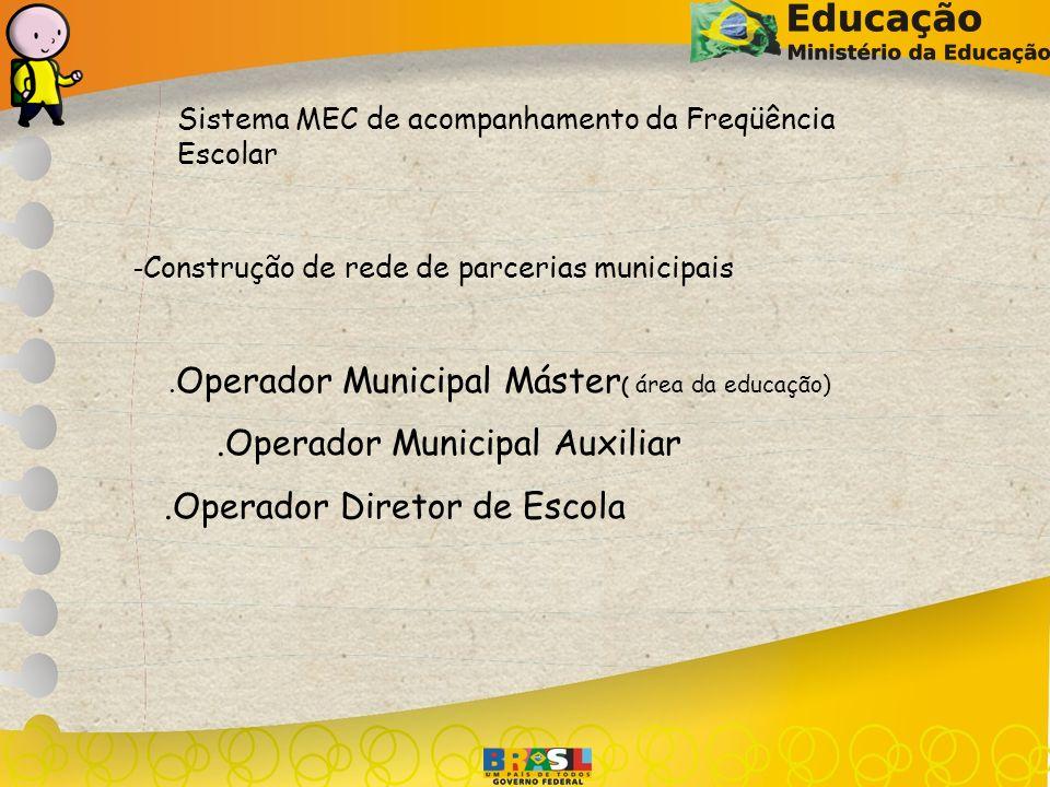 Sistema MEC de acompanhamento da Freqüência Escolar - Construção de rede de parcerias municipais. Operador Municipal Máster ( área da educação).Operad