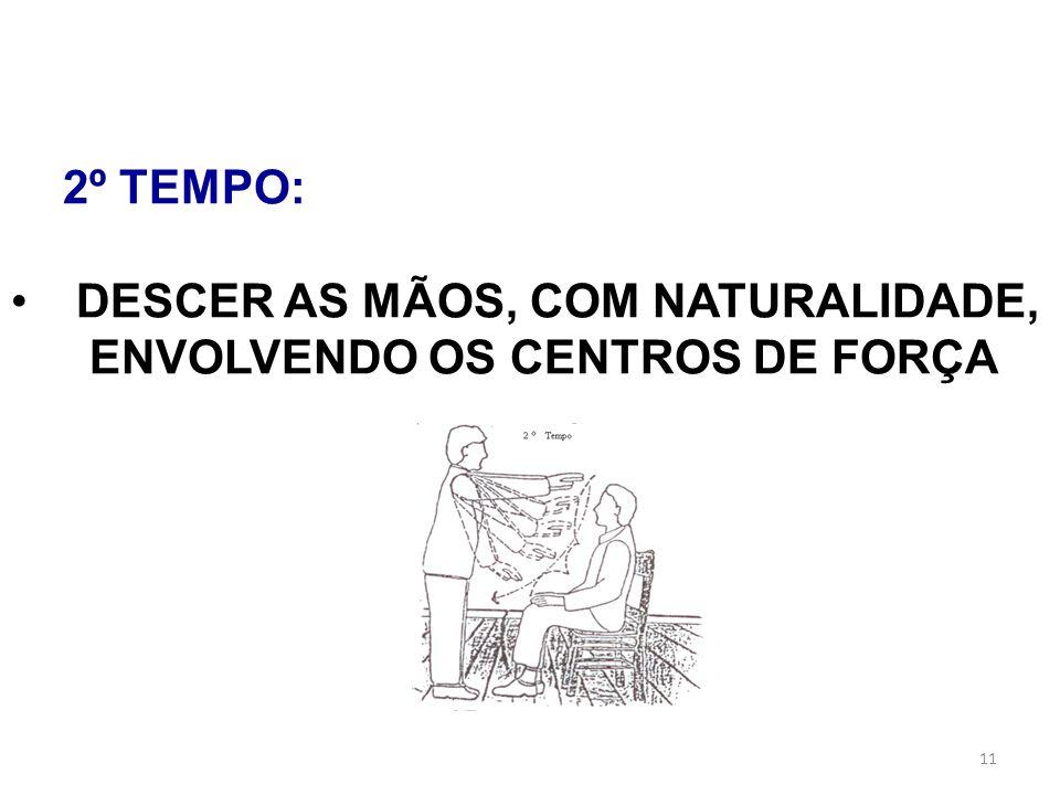 11 2º TEMPO: DESCER AS MÃOS, COM NATURALIDADE, ENVOLVENDO OS CENTROS DE FORÇA