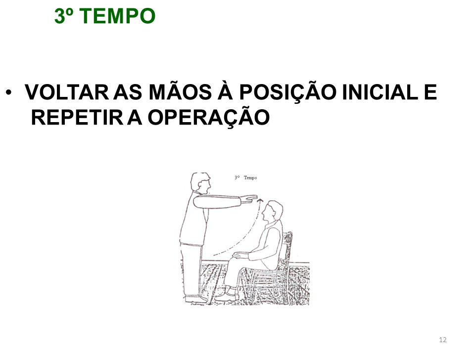 12 3º TEMPO VOLTAR AS MÃOS À POSIÇÃO INICIAL E REPETIR A OPERAÇÃO