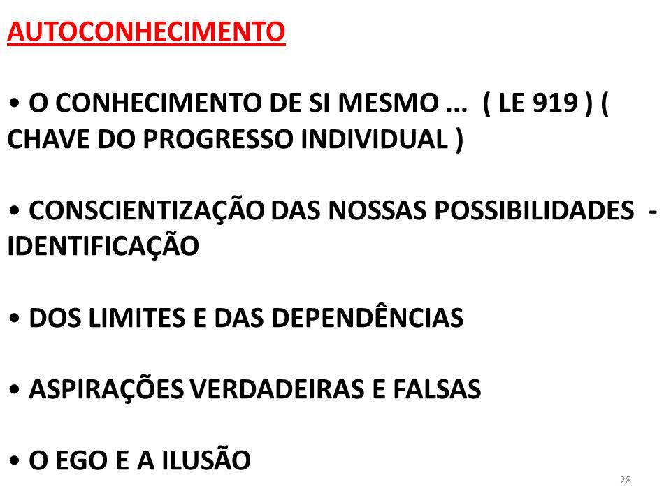28 AUTOCONHECIMENTO O CONHECIMENTO DE SI MESMO... ( LE 919 ) ( CHAVE DO PROGRESSO INDIVIDUAL ) CONSCIENTIZAÇÃO DAS NOSSAS POSSIBILIDADES - IDENTIFICAÇ