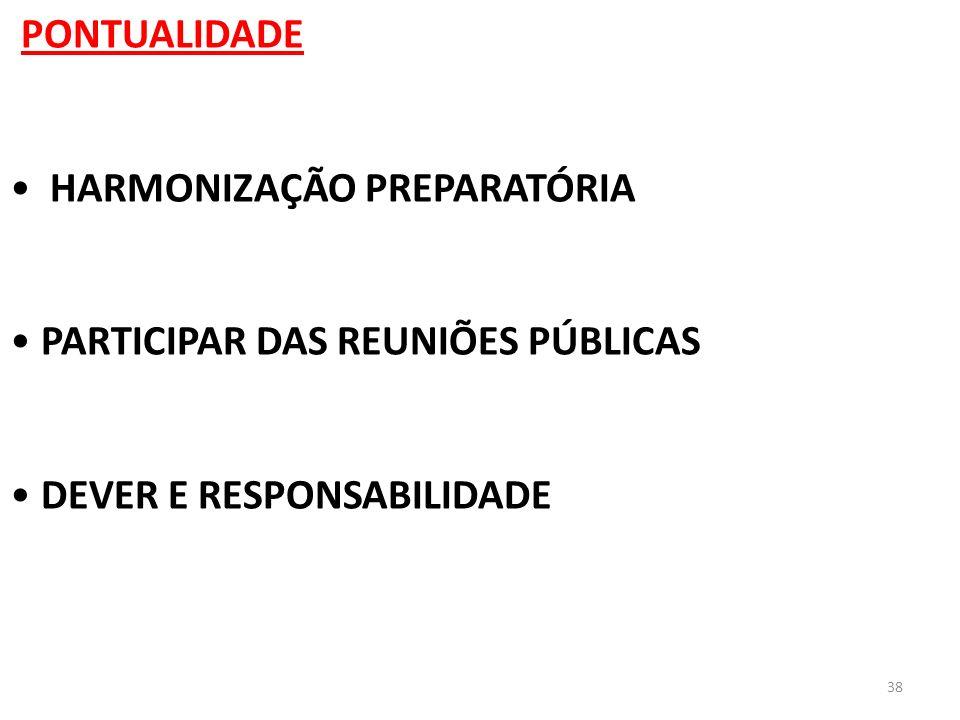 38 PONTUALIDADE HARMONIZAÇÃO PREPARATÓRIA PARTICIPAR DAS REUNIÕES PÚBLICAS DEVER E RESPONSABILIDADE