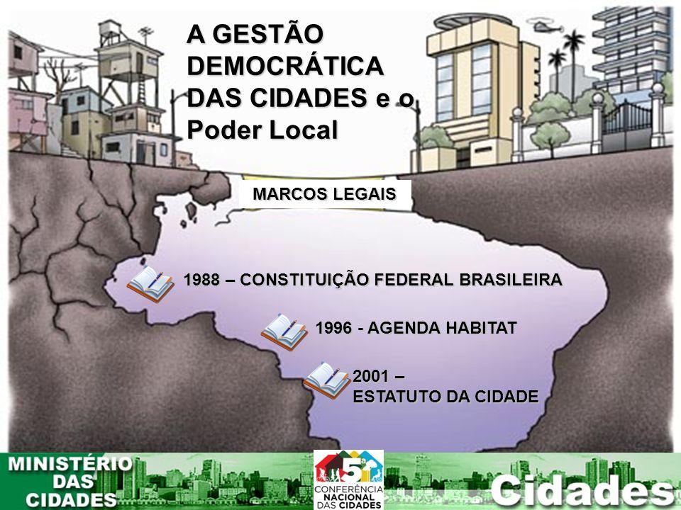 A GESTÃO DEMOCRÁTICA DAS CIDADES e o Poder Local MARCOS LEGAIS 1988 – CONSTITUIÇÃO FEDERAL BRASILEIRA 1996 - AGENDA HABITAT 2001 – ESTATUTO DA CIDADE