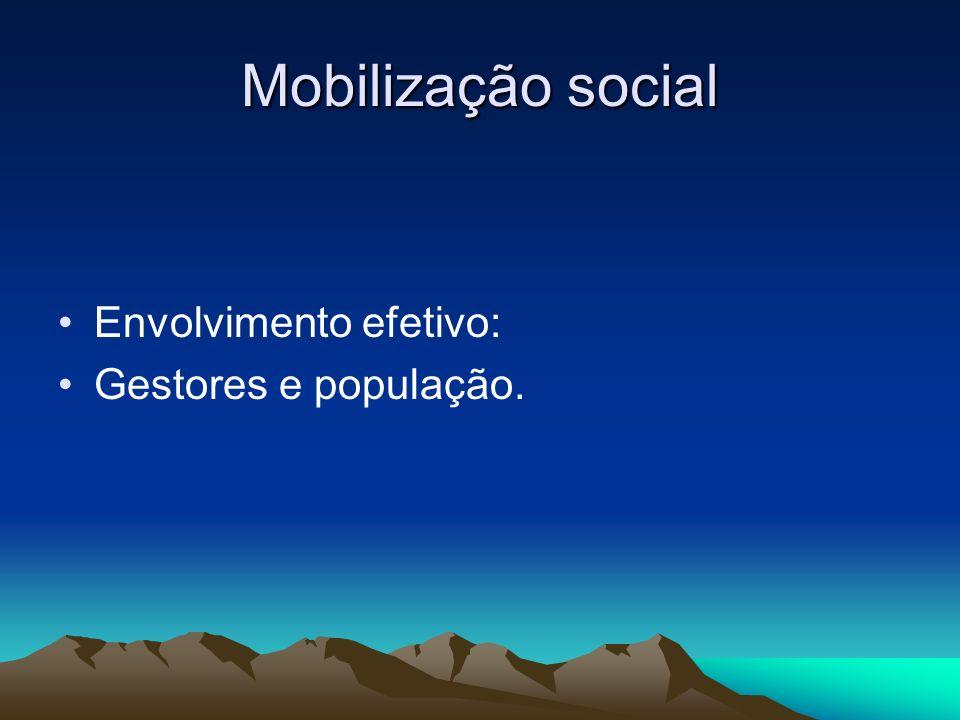Mobilização social Envolvimento efetivo: Gestores e população.