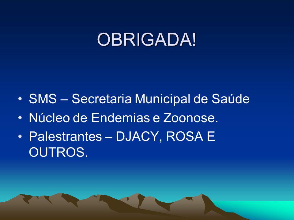 OBRIGADA! SMS – Secretaria Municipal de Saúde Núcleo de Endemias e Zoonose. Palestrantes – DJACY, ROSA E OUTROS.