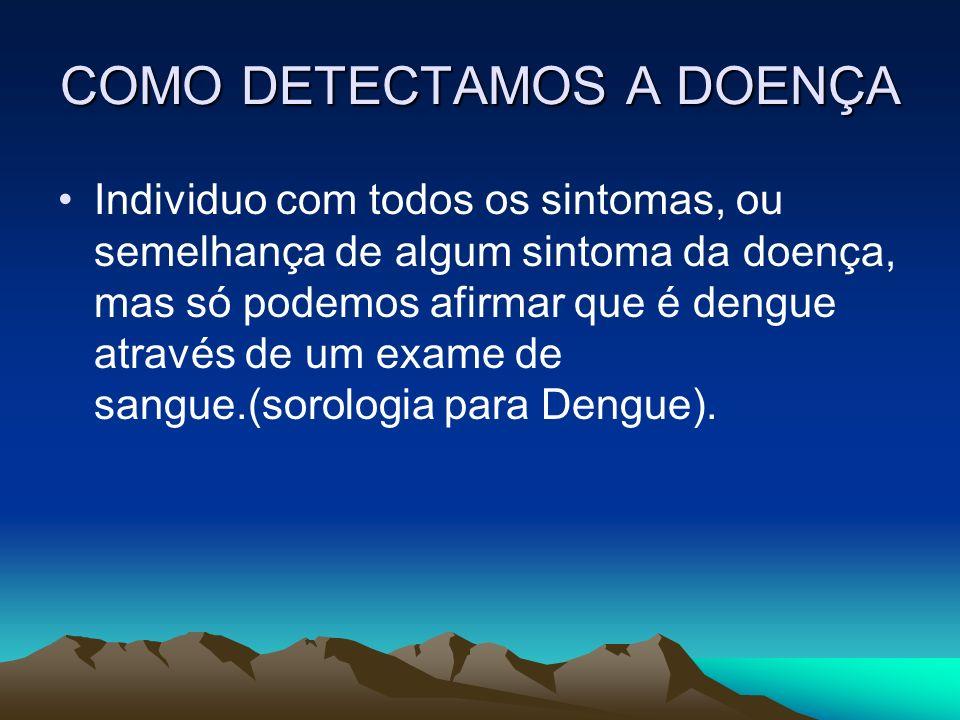 COMO DETECTAMOS A DOENÇA Individuo com todos os sintomas, ou semelhança de algum sintoma da doença, mas só podemos afirmar que é dengue através de um