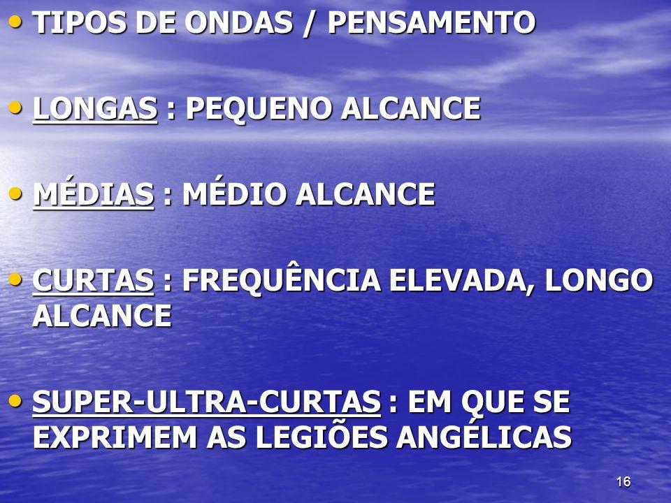 16 TIPOS DE ONDAS / PENSAMENTO TIPOS DE ONDAS / PENSAMENTO LONGAS : PEQUENO ALCANCE LONGAS : PEQUENO ALCANCE MÉDIAS : MÉDIO ALCANCE MÉDIAS : MÉDIO ALC