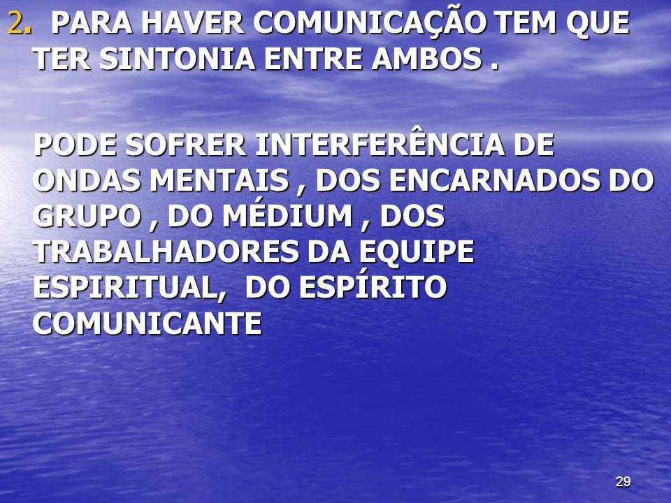 29 2. PARA HAVER COMUNICAÇÃO TEM QUE TER SINTONIA ENTRE AMBOS. PODE SOFRER INTERFERÊNCIA DE ONDAS MENTAIS, DOS ENCARNADOS DO GRUPO, DO MÉDIUM, DOS TRA
