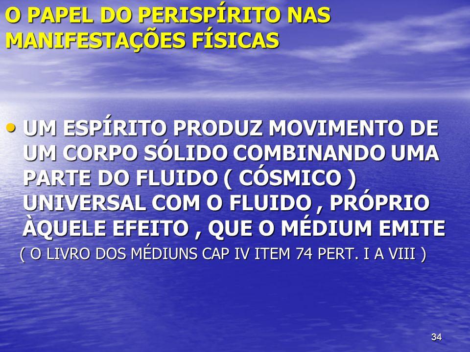 34 O PAPEL DO PERISPÍRITO NAS MANIFESTAÇÕES FÍSICAS UM ESPÍRITO PRODUZ MOVIMENTO DE UM CORPO SÓLIDO COMBINANDO UMA PARTE DO FLUIDO ( CÓSMICO ) UNIVERS