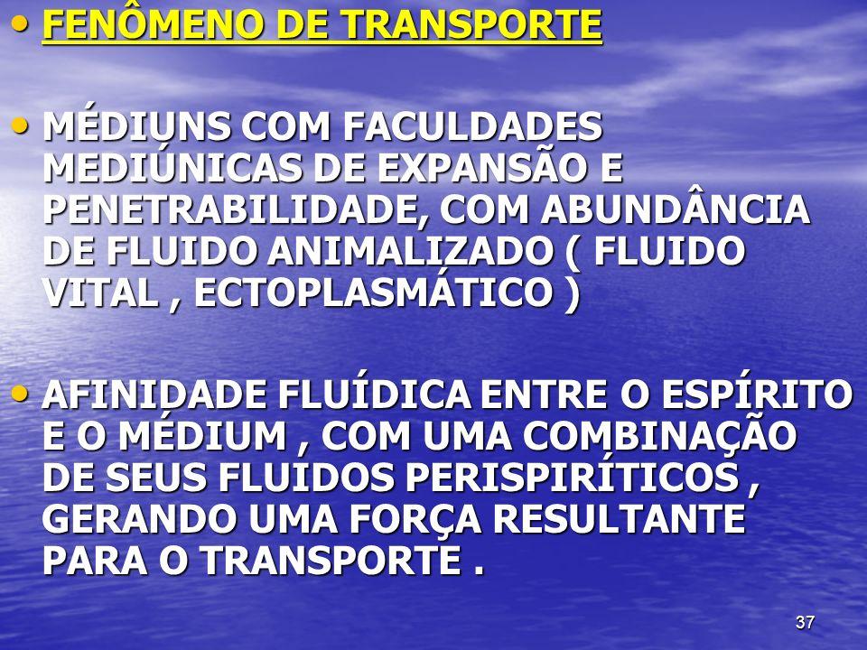 37 FENÔMENO DE TRANSPORTE FENÔMENO DE TRANSPORTE MÉDIUNS COM FACULDADES MEDIÚNICAS DE EXPANSÃO E PENETRABILIDADE, COM ABUNDÂNCIA DE FLUIDO ANIMALIZADO