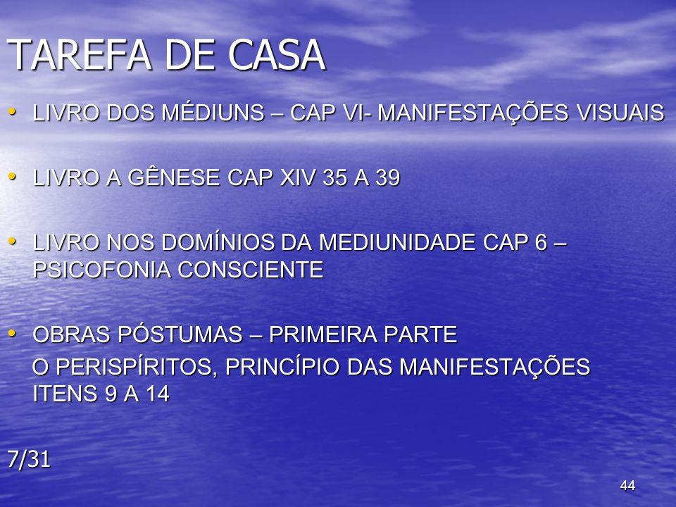 44 TAREFA DE CASA LIVRO DOS MÉDIUNS – CAP VI- MANIFESTAÇÕES VISUAIS LIVRO DOS MÉDIUNS – CAP VI- MANIFESTAÇÕES VISUAIS LIVRO A GÊNESE CAP XIV 35 A 39 L
