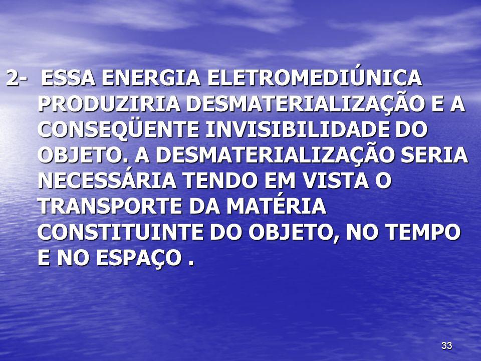 33 2- ESSA ENERGIA ELETROMEDIÚNICA PRODUZIRIA DESMATERIALIZAÇÃO E A CONSEQÜENTE INVISIBILIDADE DO OBJETO. A DESMATERIALIZAÇÃO SERIA NECESSÁRIA TENDO E