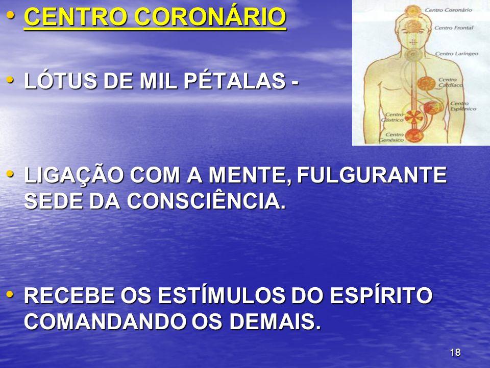 18 CENTRO CORONÁRIO CENTRO CORONÁRIO LÓTUS DE MIL PÉTALAS - LÓTUS DE MIL PÉTALAS - LIGAÇÃO COM A MENTE, FULGURANTE SEDE DA CONSCIÊNCIA. LIGAÇÃO COM A