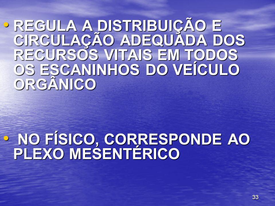 33 REGULA A DISTRIBUIÇÃO E CIRCULAÇÃO ADEQUADA DOS RECURSOS VITAIS EM TODOS OS ESCANINHOS DO VEÍCULO ORGÂNICO REGULA A DISTRIBUIÇÃO E CIRCULAÇÃO ADEQU