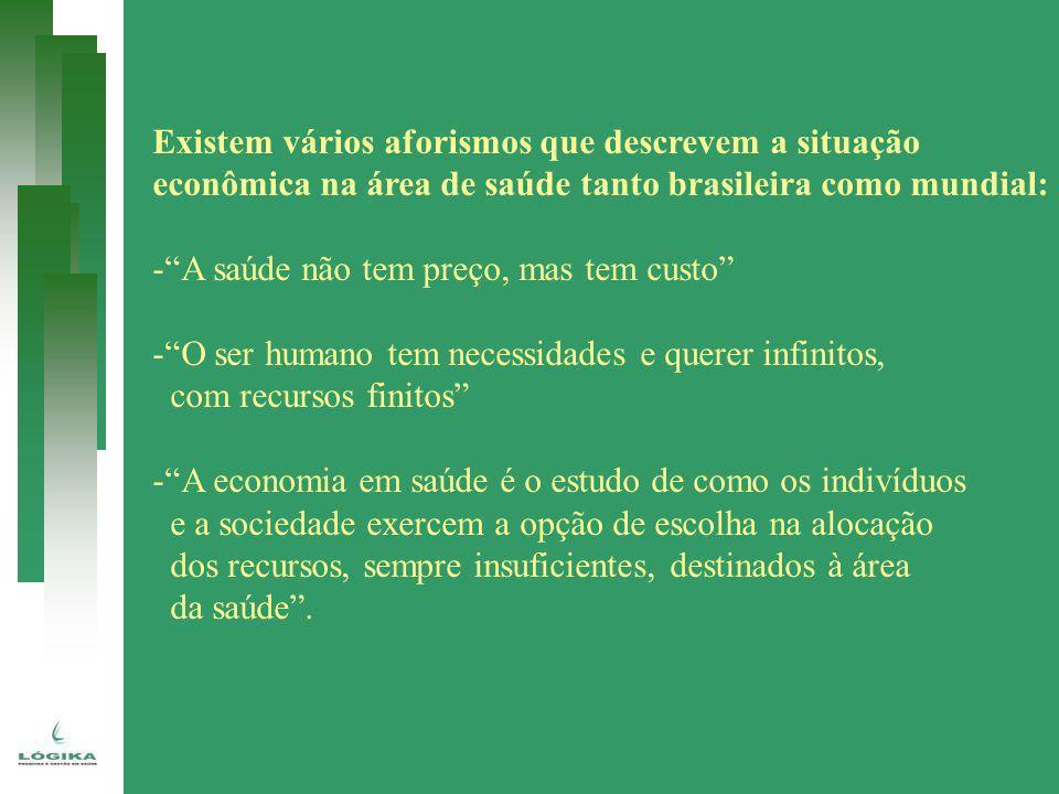 Existem vários aforismos que descrevem a situação econômica na área de saúde tanto brasileira como mundial: -A saúde não tem preço, mas tem custo -O s