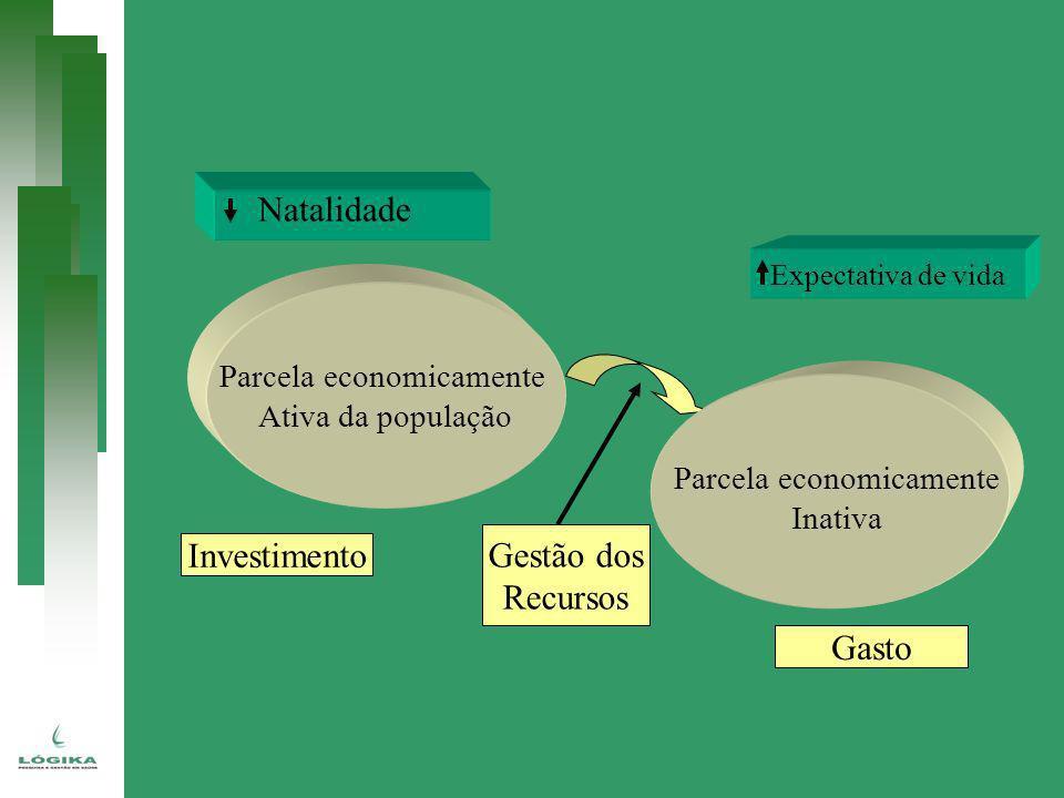 Parcela economicamente Ativa da população Parcela economicamente Inativa Expectativa de vida Natalidade Gestão dos Recursos Investimento Gasto