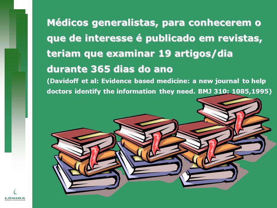 Médicos generalistas, para conhecerem o que de interesse é publicado em revistas, teriam que examinar 19 artigos/dia durante 365 dias do ano (Davidoff